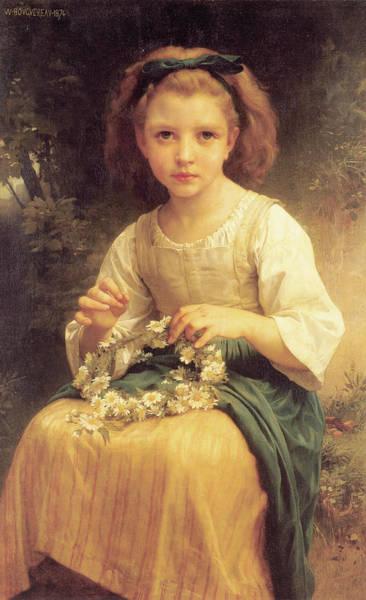 Digital Art - Child Braiding A Crown by William Bouguereau