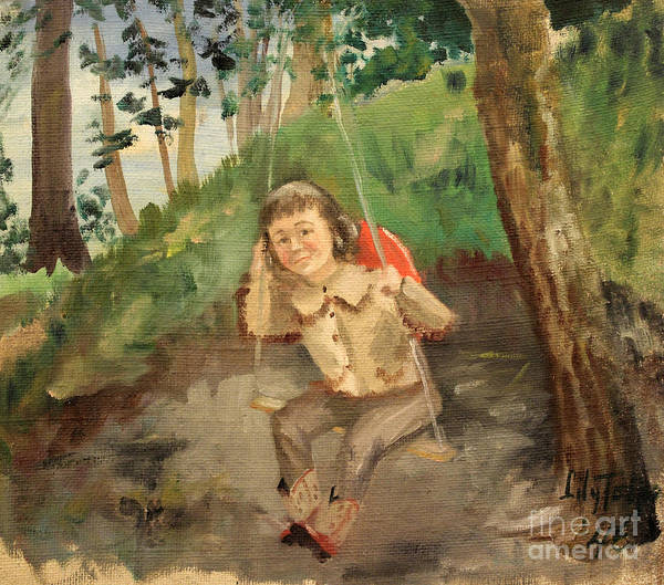 Painting - Child On A Swing 1946 by Art By Tolpo Collection