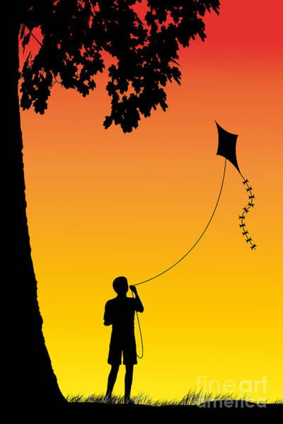 Childhood Digital Art - The Kite by John Edwards