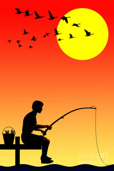 Childhood Digital Art - Fishing by John Edwards