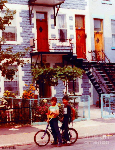 Painting - Childhood Montreal Memories Balconies And Bikes The Boys Of Summer Our Streets Tell Our Story by Carole Spandau