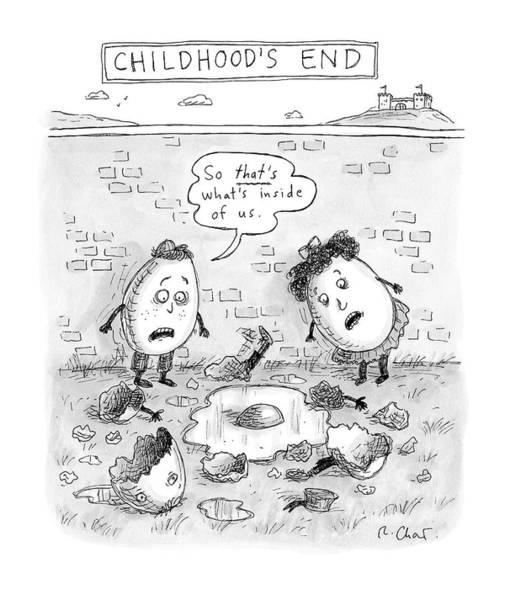 Egg Drawing - Childhood's End: Two Egg-children Stand by Roz Chast