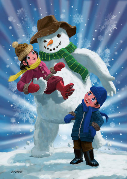 Painting - Children And Snowman Playing Together by Martin Davey