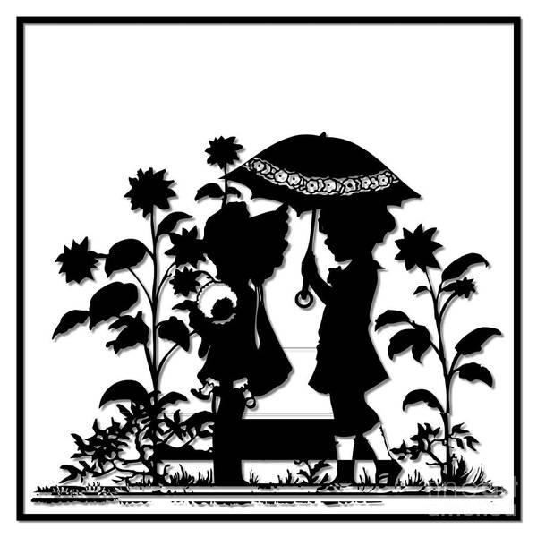 Digital Art - Children And Sunflowers Silhouette by Rose Santuci-Sofranko