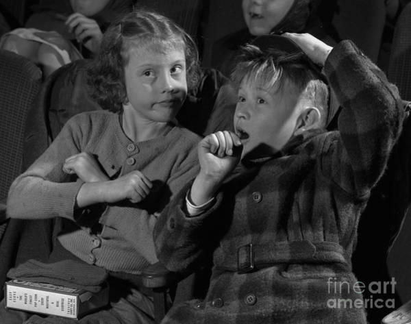 Popcorn Photograph - Children At A Film Matinee In 1946 by The Harrington Collection