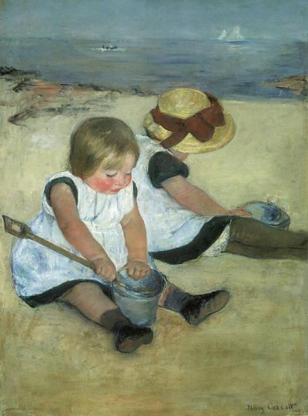 Cassatt Painting - Children At The Seashore by Mary Cassatt