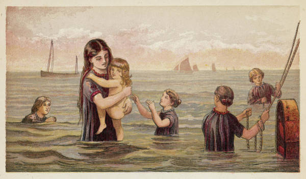 Bather Drawing - Children At The Seaside  A  Girl Holds by Mary Evans Picture Library