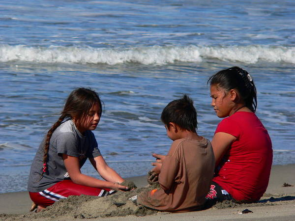 Photograph - Children Beach Sand Play by Jeff Lowe