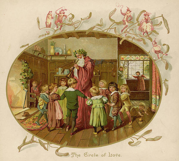 Traditional Dances Drawing - Children Dance Around Father Christmas by Mary Evans Picture Library