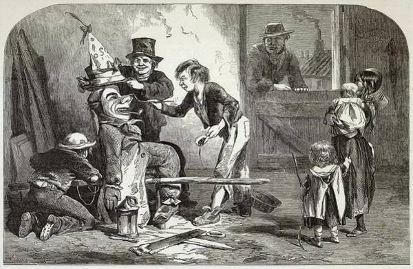 Wall Art - Drawing - Children Decorating Their Guy by  Illustrated London News Ltd/Mar