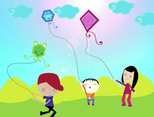 Flying Kite Photograph - Children Flying Kites In A Field by Fanatic Studio / Science Photo Library