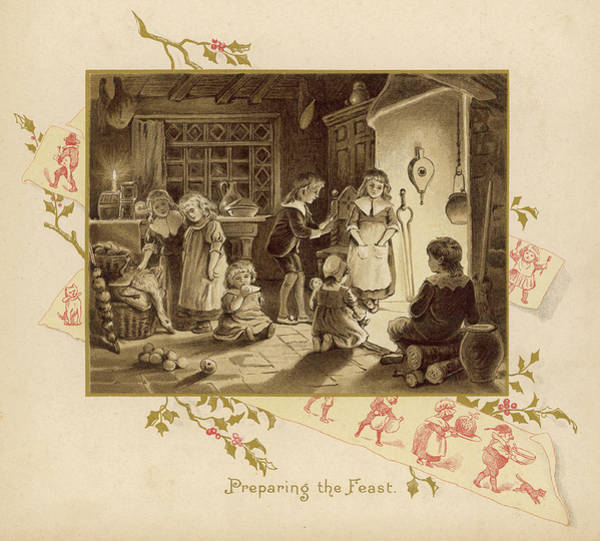 Wall Art - Drawing - Children Help To Prepare The  Christmas by Mary Evans Picture Library