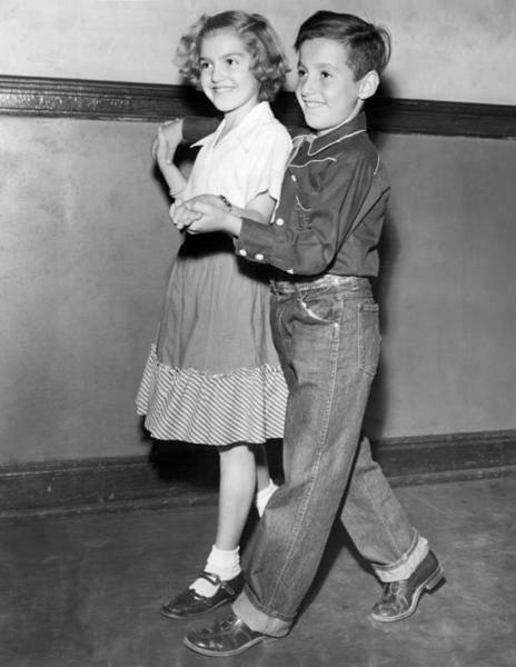 Lessons Photograph - Children Learn Square Dancing by Underwood Archives