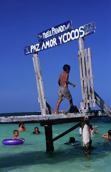 Mayan Riviera Photograph - Children Play On Jetty Pas Amor Y Cocos by Dallas Stribley
