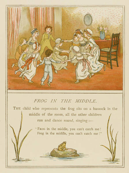 Wall Art - Drawing - Children Playing Frog In The Middle by Mary Evans Picture Library
