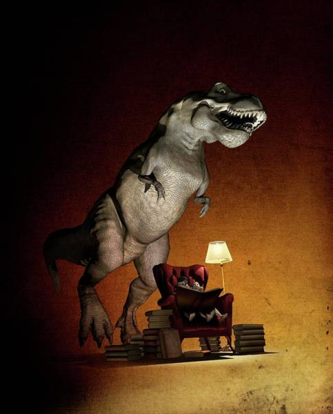 Encyclopedia Wall Art - Photograph - Children Reading About Dinosaurs by Mikkel Juul Jensen