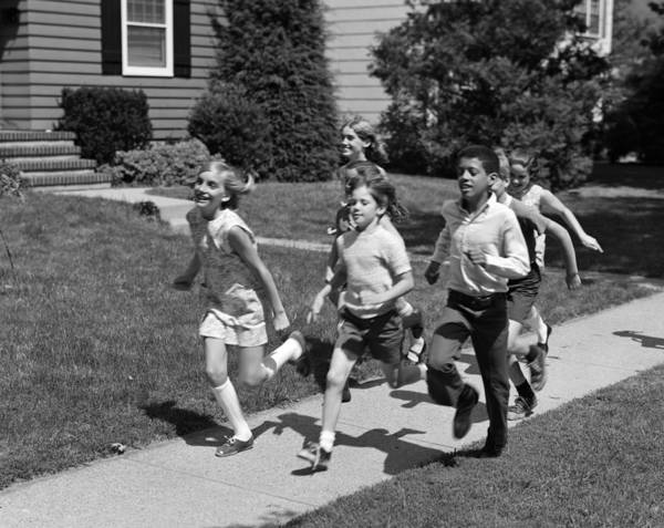Exuberance Photograph - Children Running Down Sidewalk by H. Armstrong Roberts/ClassicStock