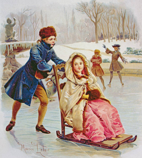 Skating Painting - Children Skating by Maurice Leloir