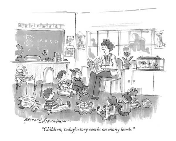 Pupil Drawing - Children, Today's Story Works On Many Levels by Bernard Schoenbaum