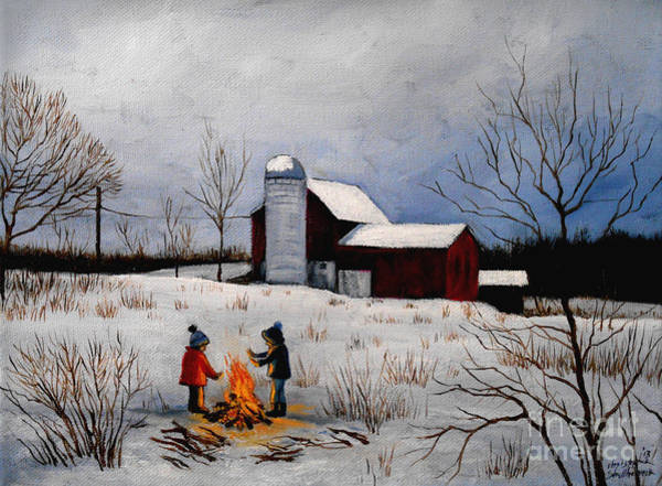 Painting - Children Warming Up By The Fire by Christopher Shellhammer