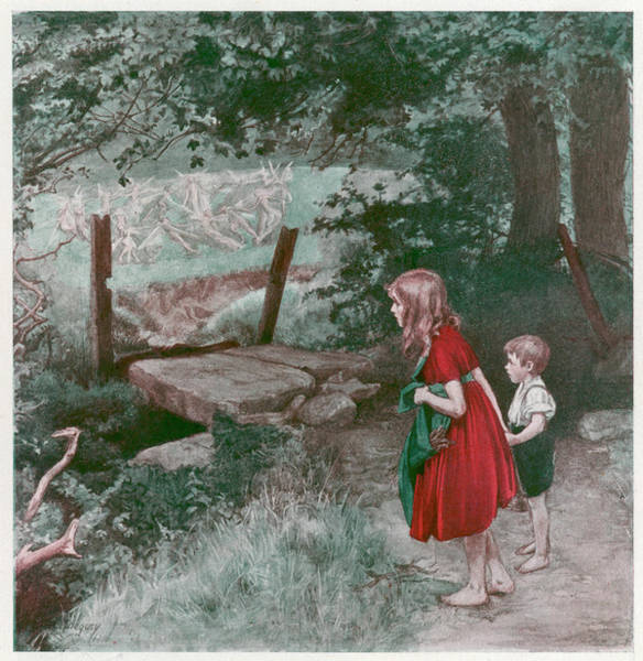 Folklore Drawing - Children Watch Fairies Dancing by Mary Evans Picture Library