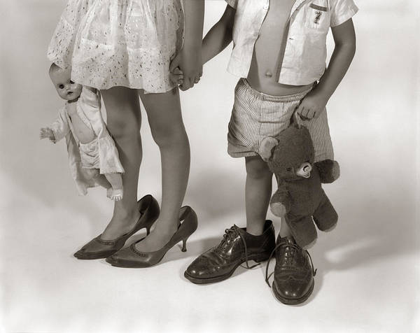 Wall Art - Photograph - Children Wearing Their Parents Shoes by H. Armstrong Roberts/ClassicStock