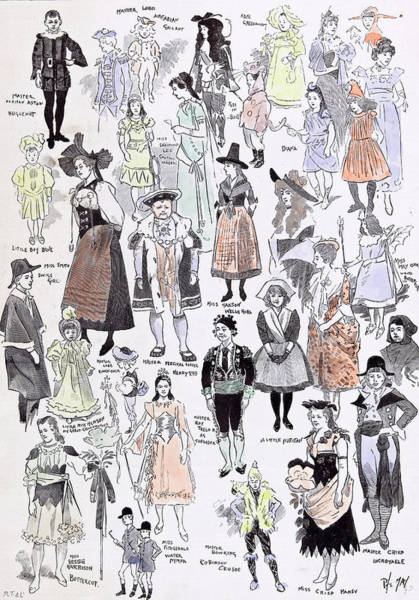 Puss Drawing - Childrens Fancy Dress At The Mansion House 1892 Mastor by English School