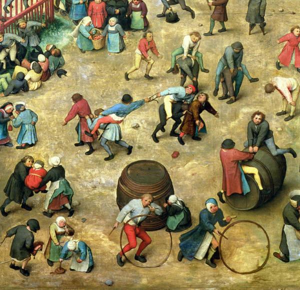 Hoop Photograph - Childrens Games Kinderspiele Detail Of Bottom Section Showing Various Games, 1560 Oil On Panel by Pieter the Elder Bruegel