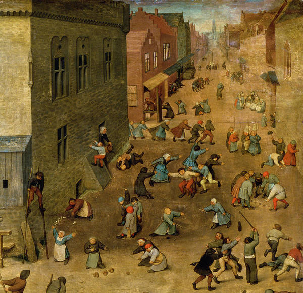 Street Scenes Photograph - Childrens Games Kinderspiele Detail Of Top Right Hand Corner, 1560 Oil On Panel Detail Of 68945 by Pieter the Elder Bruegel