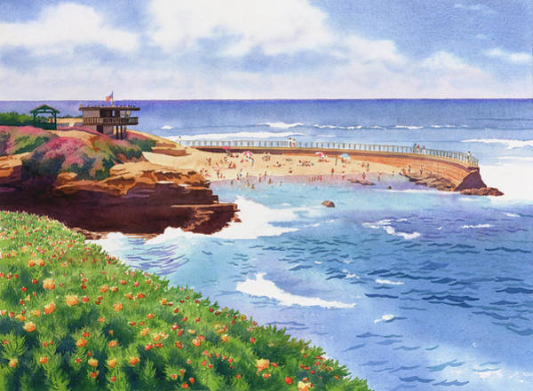 Child Painting - Children's Pool In La Jolla by Mary Helmreich