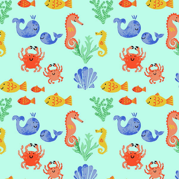 Sealife Painting - Childrens Sealife Vector Multi Fish Motif On Blue by MGL Meiklejohn Graphics Licensing