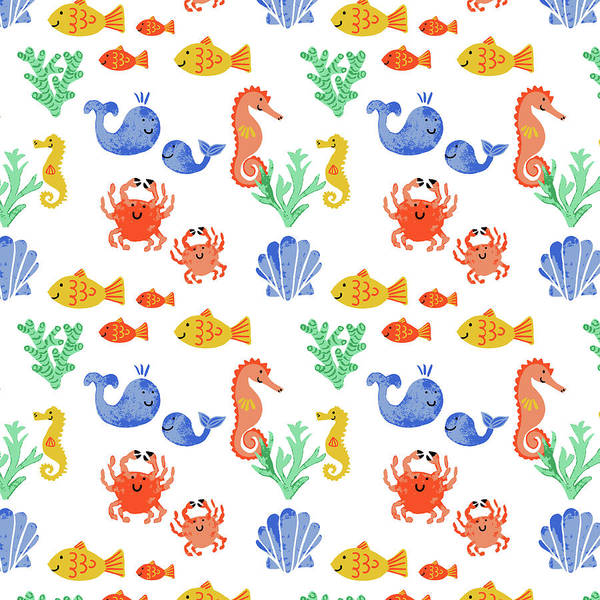 Sealife Painting - Childrens Sealife Vector Multi Fish Motif On White by MGL Meiklejohn Graphics Licensing