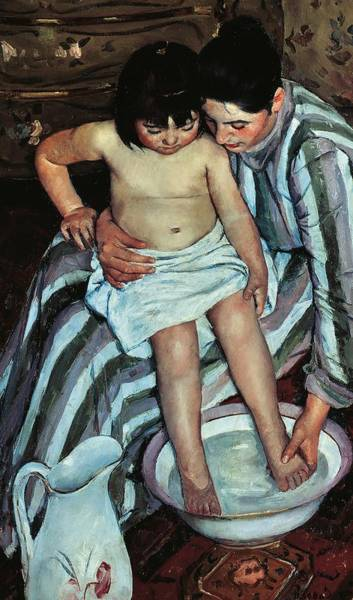 Toddler Painting - Child's Bath by Mary Cassatt