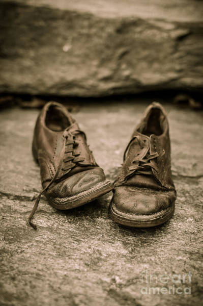 Photograph - Child's Old Leather Shoes by Edward Fielding