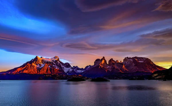 Lake George Photograph - Chile, Torres De Paine, Lenticular by George Theodore