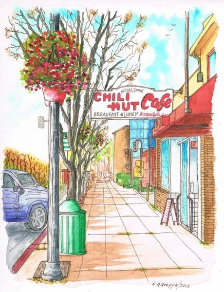 Paula Wall Art - Painting - Chili Hut Cafe In Main Street, Santa Paula, California by Carlos G Groppa