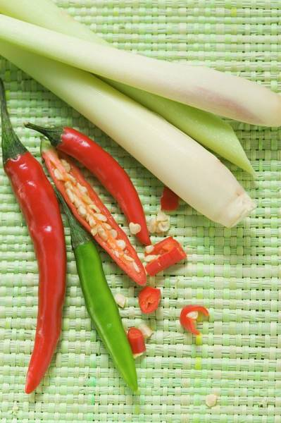 Vegies Photograph - Chili Peppers And Lemon Grass by Foodcollection