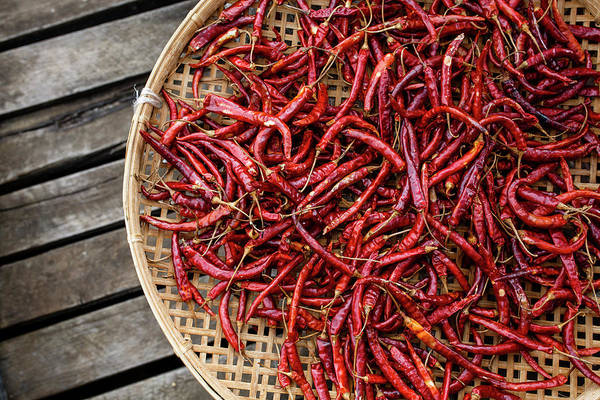 Wall Art - Photograph - Chili Peppers In A Basket At Inle Lake by Steele Burrow