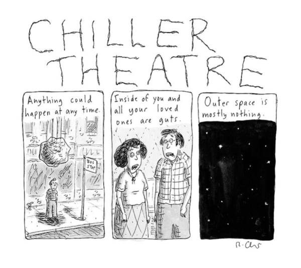 Parody Drawing - Chiller Theatre -- Scary Thoughts That Parody by Roz Chast