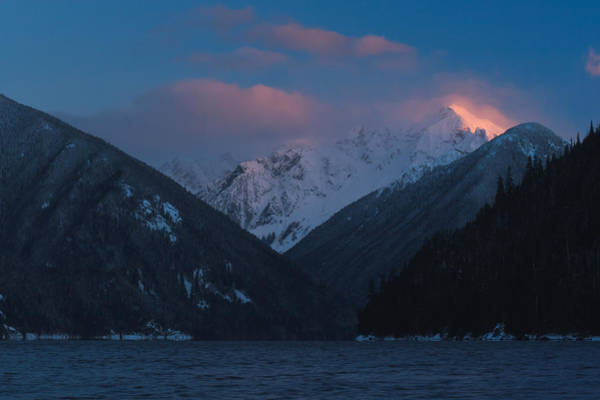 Mount Redoubt Photograph - Chilliwack Lake With Nodoubt Peak Alpenglow by Michael Russell