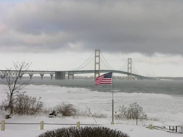 Photograph - Chilly Mackinac Bridge by Keith Stokes