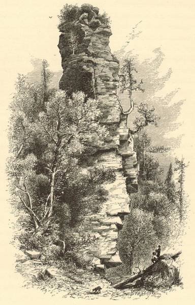 Michilimackinac Wall Art - Digital Art - Chimney Rock by Antique Engravings