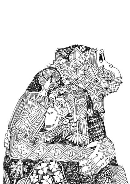 Monkey Flower Wall Art - Drawing - Chimpanzee Love Black White by MGL Meiklejohn Graphics Licensing