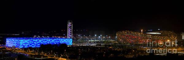 China Beijing Panorama Water Cube And Birds Nest Stadiums Art Print