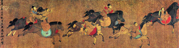 Wall Art - Painting - China Horse Riders by Granger