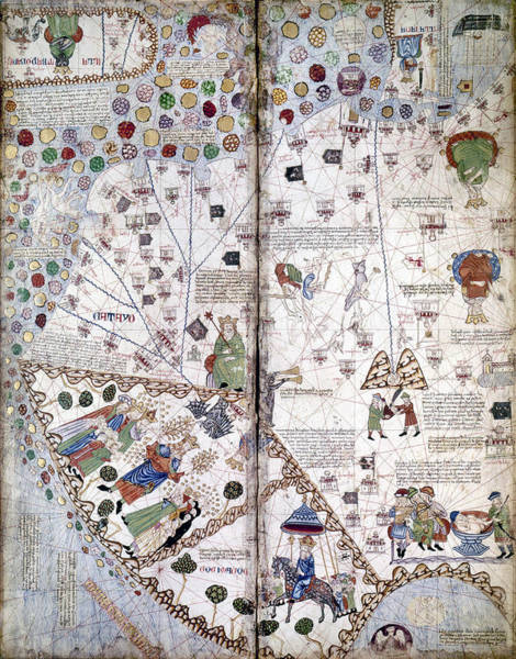 Wall Art - Painting - China Map, 1375 by Granger