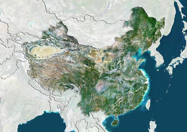 Landsat 7 Wall Art - Photograph - China by Planetobserver/science Photo Library