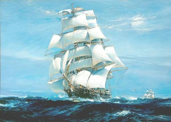 Wall Art - Painting - China Tea Clippers Race by Mountain Dreams