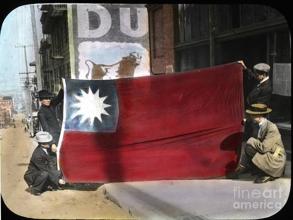 Photograph - China's National Flag San Francisco Chinatown Circa 1917 by California Views Archives Mr Pat Hathaway Archives