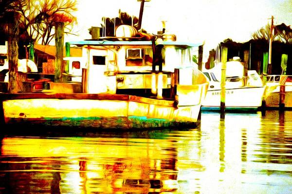 Photograph - Chincoteague Boat Reflections by Alice Gipson